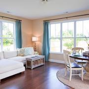 62平米简约田园两居室室内客厅效果图
