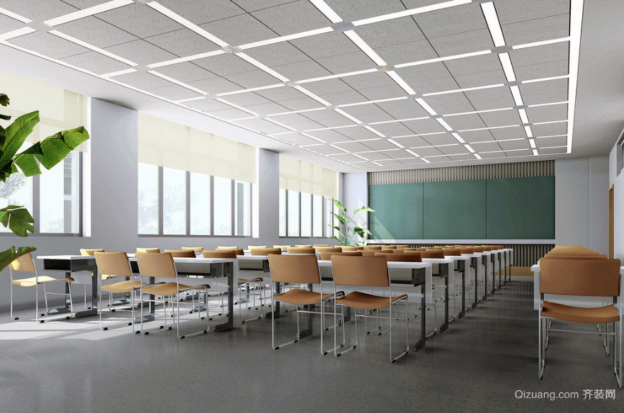 现代精致的学校教室布置设计效果图教室