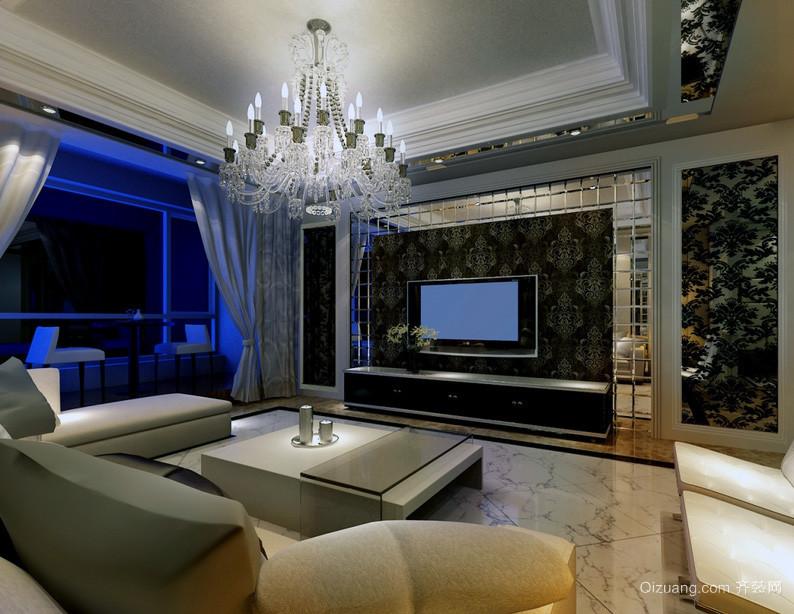 大户型欧式客厅液晶电视背景墙装修效果图实例