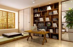 现代日式风格120平米家居书房装修图