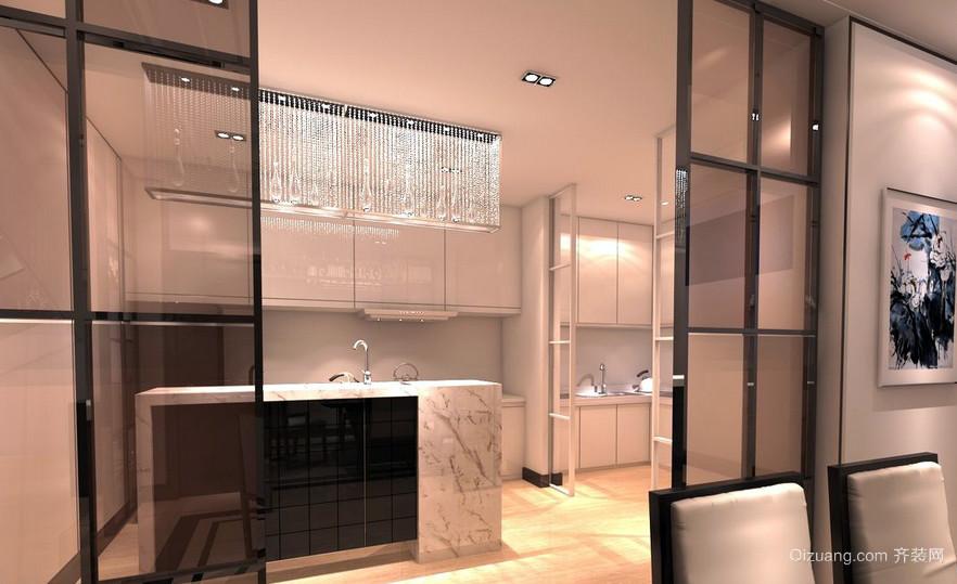 温馨简约大户型厨房玻璃隔断门效果图