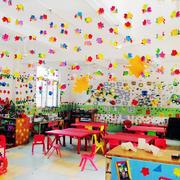 现代都市幼儿园室内墙画教室布置效果图实例