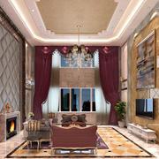 别墅挑高客厅窗帘展示