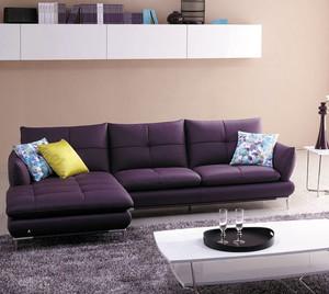 都市化小户型客厅紫色时尚顾家沙发图片