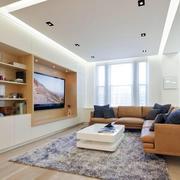 2016大户型日式风格客厅电视柜装修图