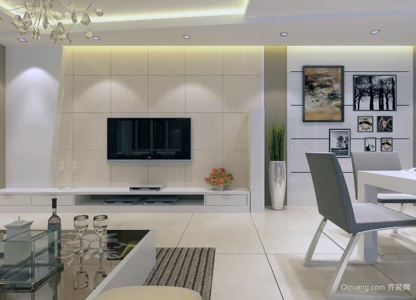 大户型欧式家庭电视墙装潢设计装修效果图片
