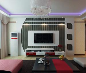 三居室现在简约电视背景墙装修效果图鉴赏