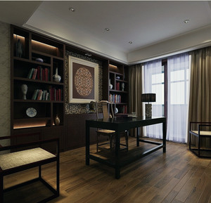 别墅型中式风格家居书房室内装修设计效果图