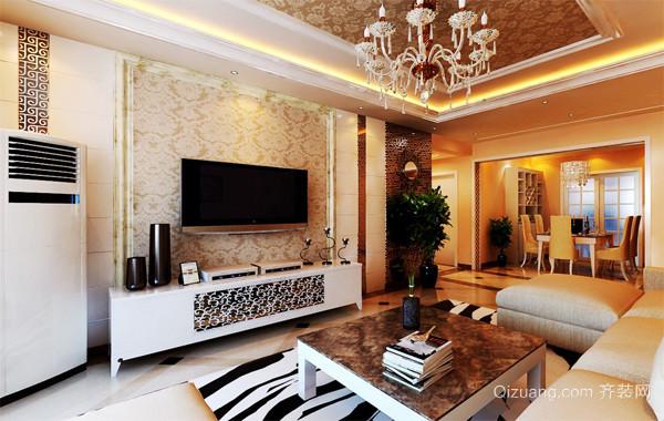 现代大户型欧式风格客厅装修壁纸效果图实例