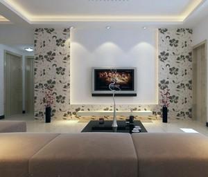 小户型欧式电视背景墙液体壁纸装修效果图实例