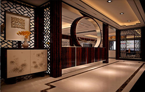 中式家装博古架隔断设计效果图