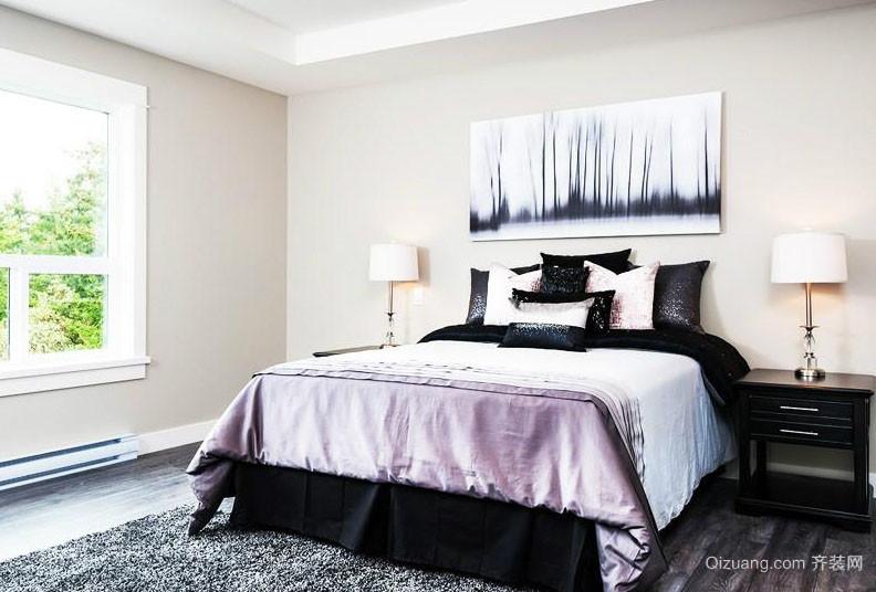 后现代风格三居室卧室黑白装饰画图片