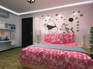 2016大户型欧式风格卧室手绘背景墙装修效果图