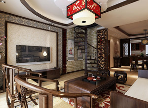 跃层小户型古典中式风格客厅装修效果图