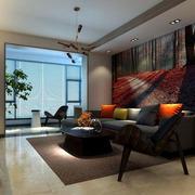 复式楼沙发背景装饰画