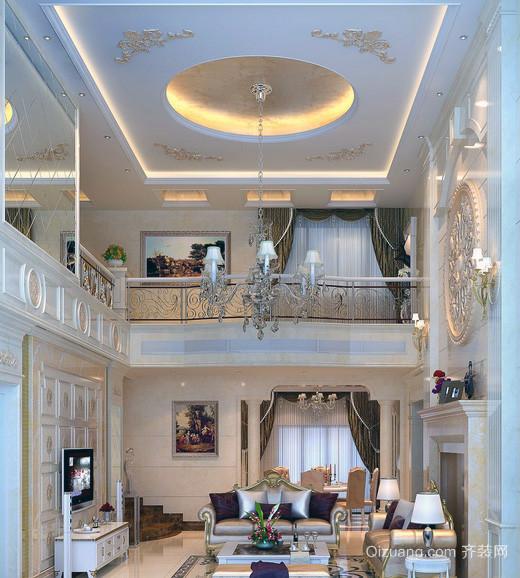 复式楼欧式风格客厅装修效果图实例欣赏