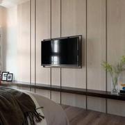 100平米家居卧室原木电视墙