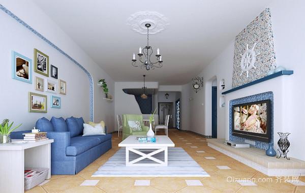 梦幻大户型地中海风格房屋客厅装修设计图