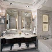 别墅简欧卫生间洗手台装修效果图片