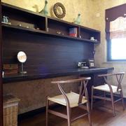 东南亚书房实木书桌设计