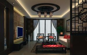 大户型精美的中式客厅背景墙装修效果图
