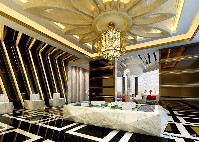 大型售楼部简欧吊顶设计效果图