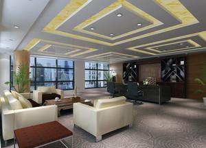 都市完美的老板办公室吊顶装修设计效果图