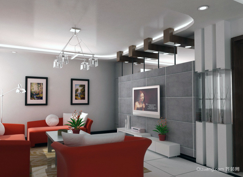 小户型欧式 客厅电视背景墙装修 效果图 实例