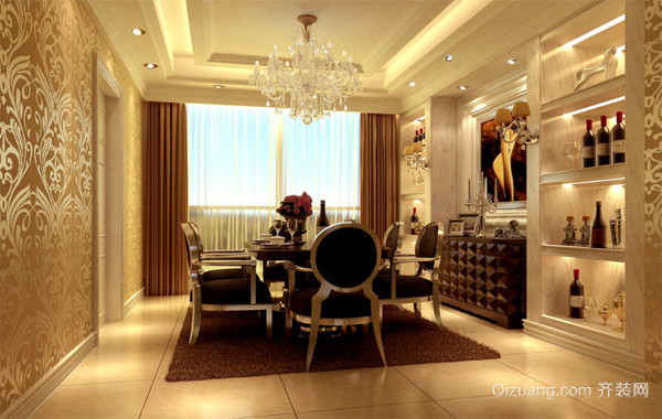 60平米欧式风格小户型餐厅背景墙装修效果图