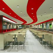 现代商场大型快餐店吊顶设计装修效果图