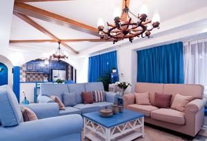 寂静的蓝:114平米家居地中海风格装修图片