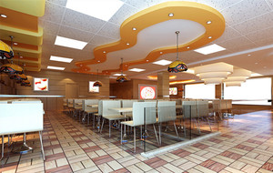 2016都市快餐店室内吊顶装修效果图实例