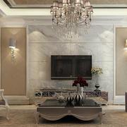 182平米简欧客厅瓷砖电视墙设计效果图