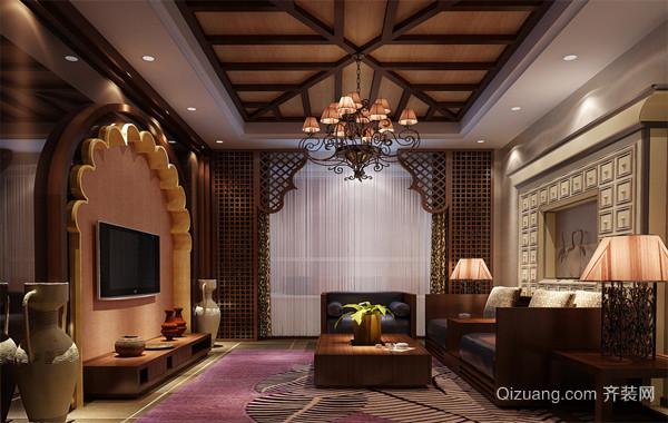 大户型东南亚风格客厅电视背景墙装修效果图鉴赏