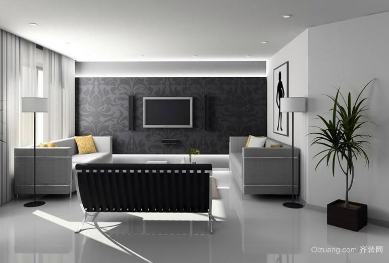 男士小公寓简约客厅电视墙装修设计图