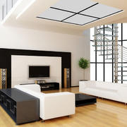 现代风格错层客厅电视墙装修设计效果图