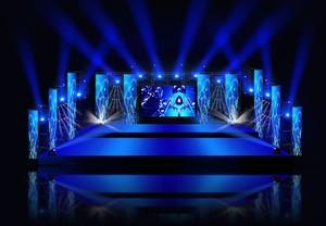 渲染:大型现代舞台灯光设计效果图