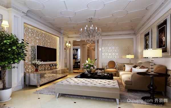 2016欧式单身公寓客厅电视背景墙装修效果图