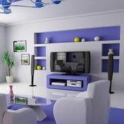 84平米现代紫色小客厅电视墙装修设计图