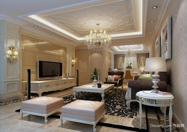 2016欧式单身公寓 客厅电视背景墙 装修效果图
