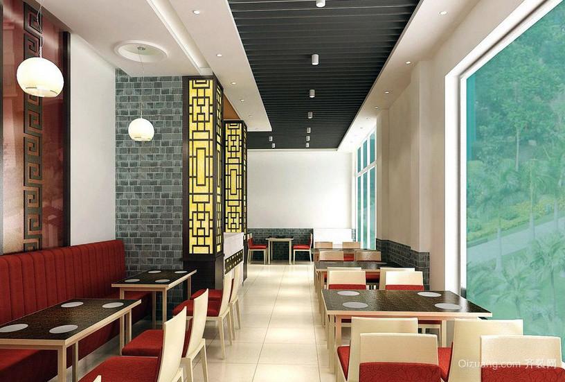 88平米快餐店新中式设计装修效果图