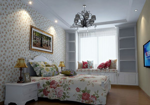 别样设计:两居室田园卧室飘窗窗帘效果图