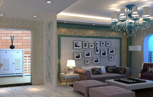 简欧风格客厅照片墙展示