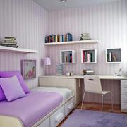 超浪漫设计打造现代榻榻米浅紫色儿童房