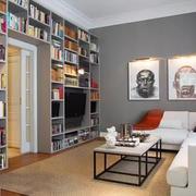 室内客厅书柜展示