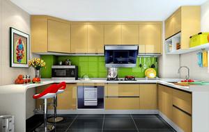 厨房黄色整体橱柜展示