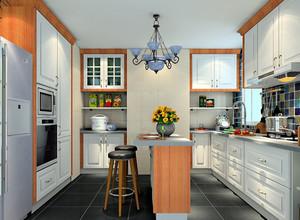 彩色现代U字型开放式厨房装修效果图