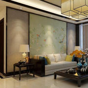 老年公寓新中式小客厅背景装修效果图