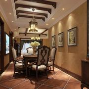 别墅美式古典餐厅装饰设计效果图