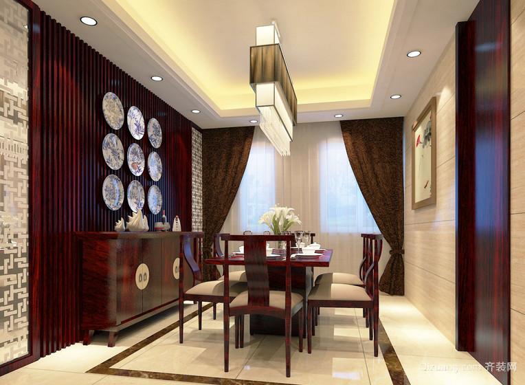 2016三室一厅精致餐厅背景墙装饰设计图
